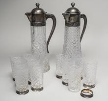 Near Pair of Russian Cut Glass Ewers and Glasses *