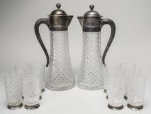 Pair of Russian Cut Glass Ewers and Glasses   *