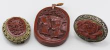 Three Cinnabar Jewelry Items