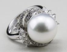 South Sea Pearl and Diamond Ring   *