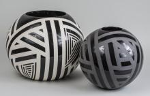 Two Modern Black and White Ceramic Vases