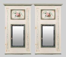 Pair of Trumeau Style Painted Mirrors