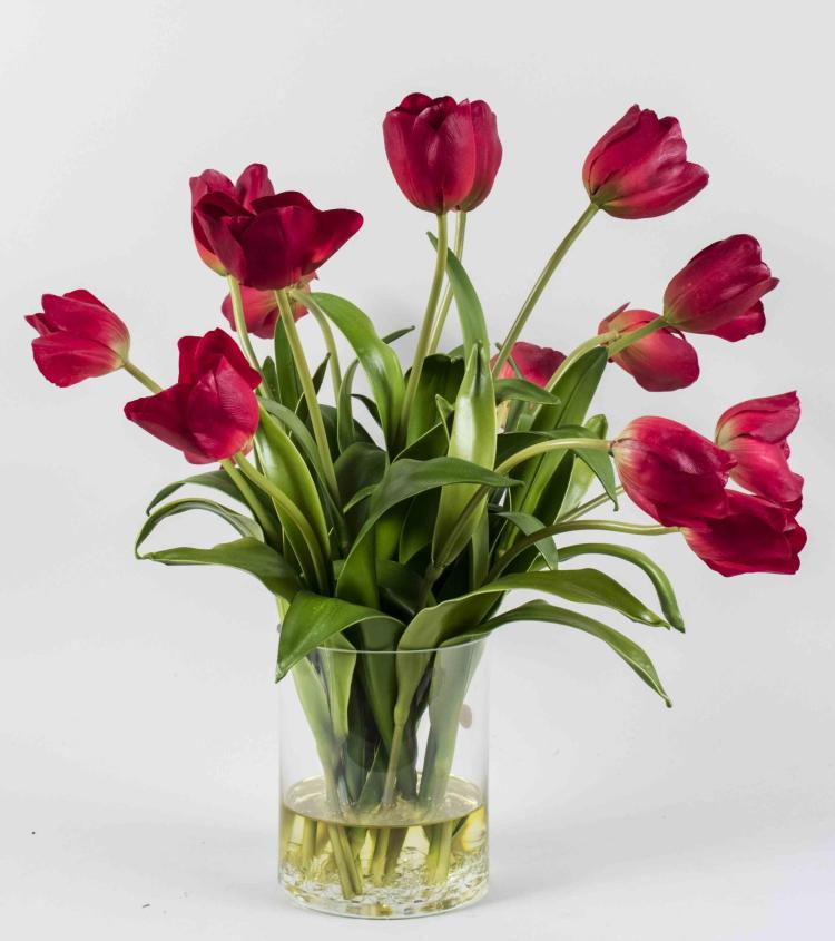 Silk Red Tulip Flower Arrangement
