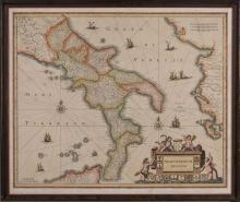 Hand Colored Map of Naples