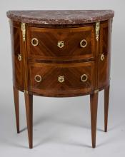Louis XVI Demilune Marble Top Commode   *
