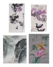 Group of Four Asian Ink Drawings