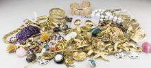 Group of Gold Tone Costume Jewelry