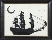 Silhouette of a Three-Masted Sailing Ship