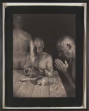 Sepia Photo of Man In Three Perspectives (20th C)