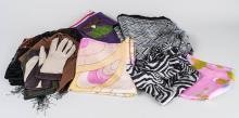 Group of Designer Scarves and Gloves