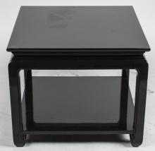 Asian Inspired Black Lacquered End Table