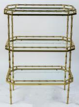 Brass Bamboo Three Tier Table