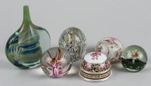 Group of Paperweights and an Art Glass Vase