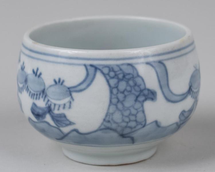 Korean Blue and White Porcelain Tea Cup