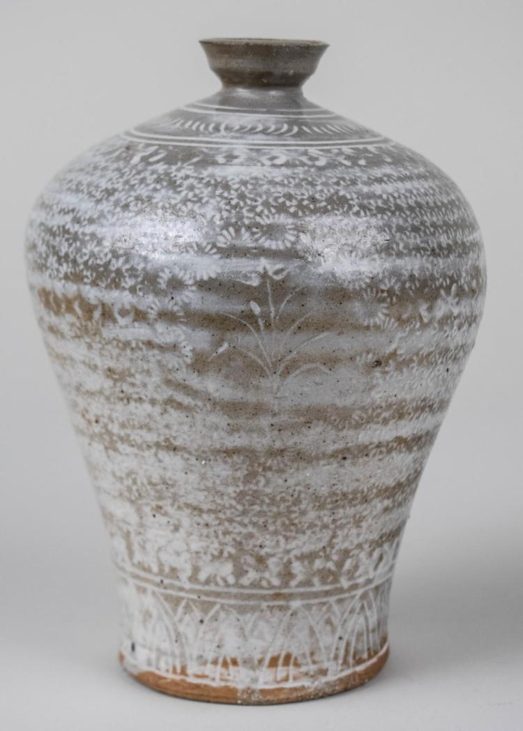 Korean Buncheong Incised Porcelain Maebyeong