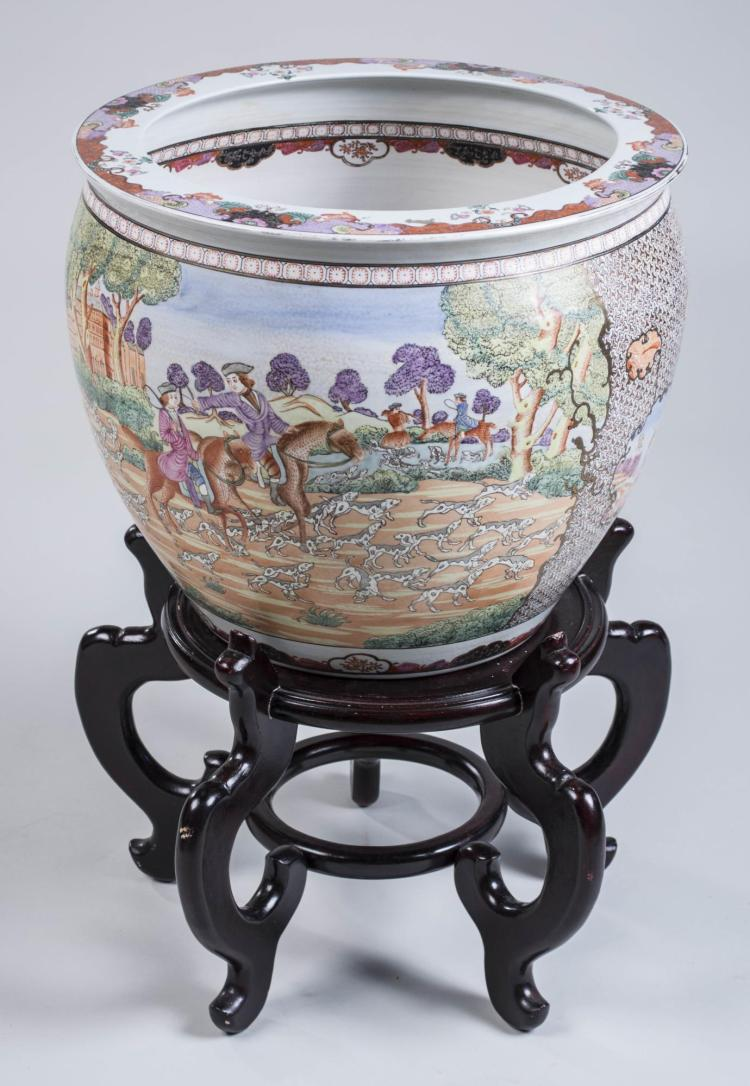 Chinese porcelain fish bowl and stand for Chinese fish bowl