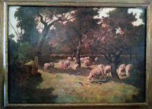 Charles Emile Olivier Grazing Sheep