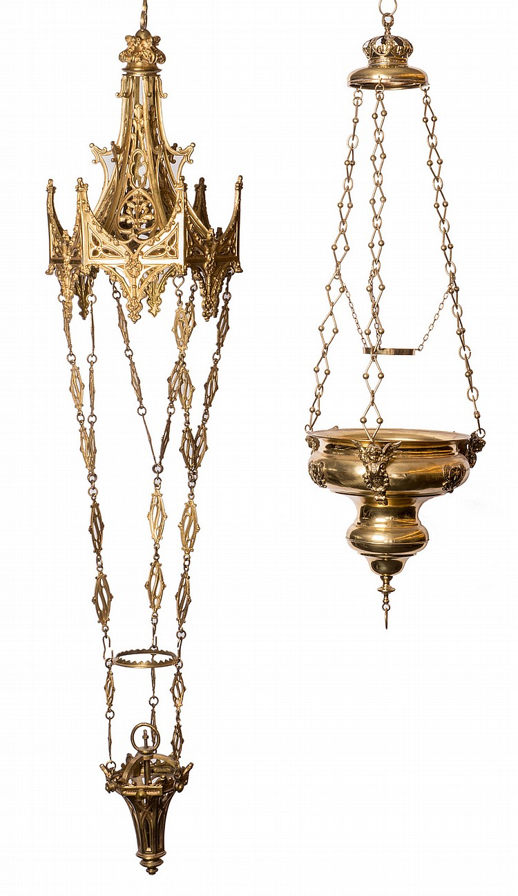 A Brass Gothic Revival And Ditto Baroque Chandelier H 112