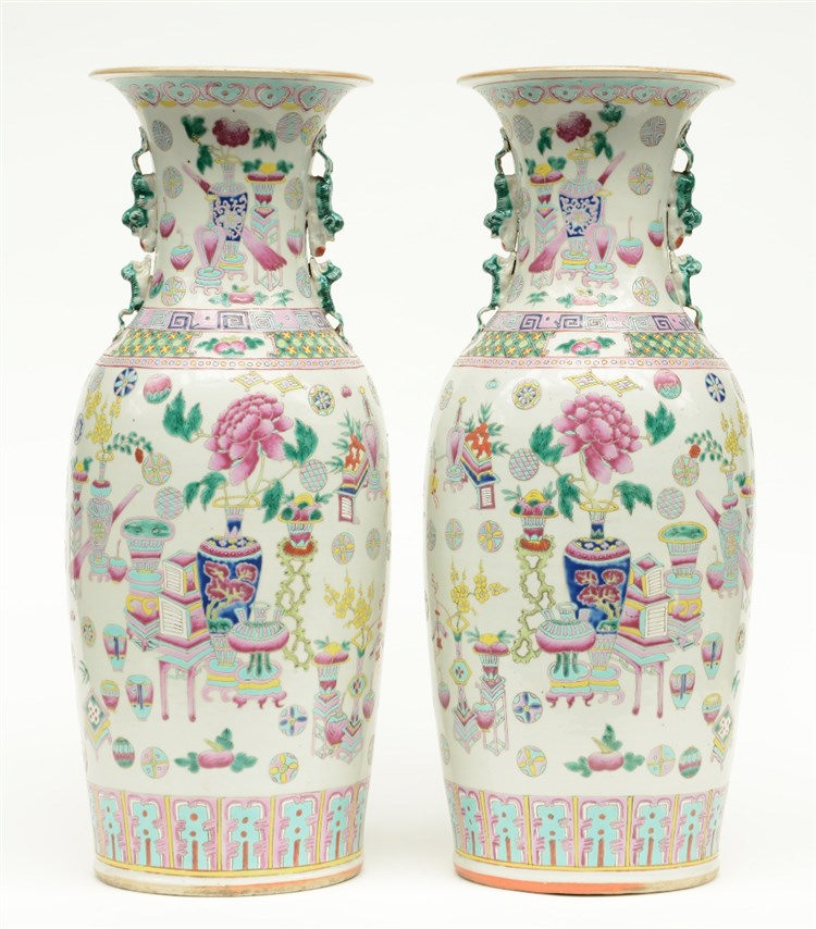 A pair of Chinese famille rose vases decorated with antiquities and symbols
