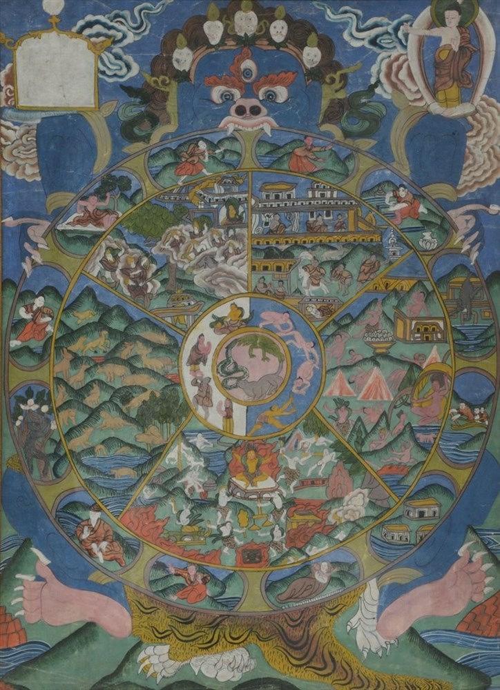 A 19thC Tibetan tanka, 42 x 58,5 cm