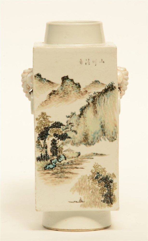 A Chinese quadrangular polychrome vase, decorated with a landscape, marked,