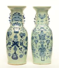 Two Chinese celadon-ground blue and white vases decorated with symbols, H 5