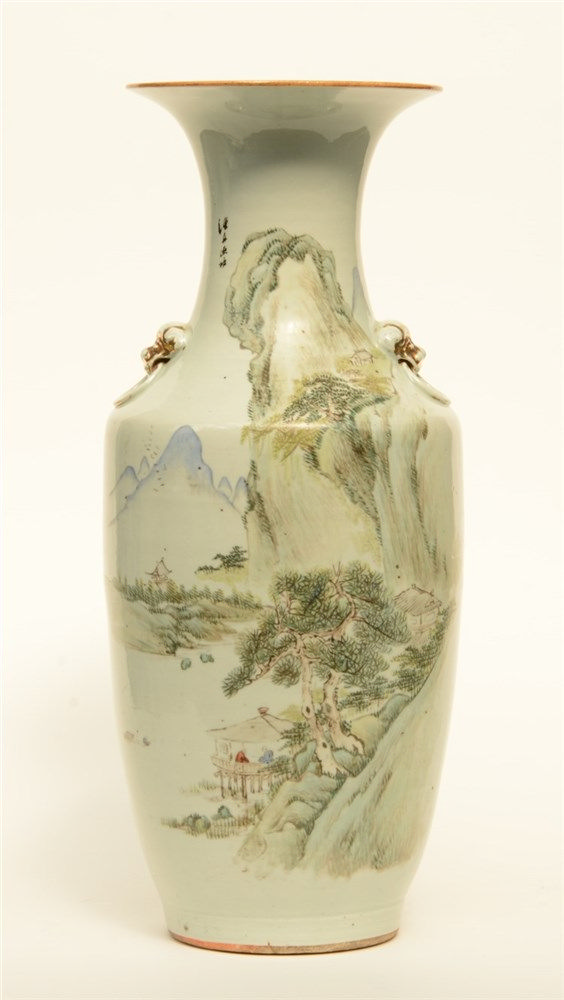 A Chinese polychrome vase, decorated with a mountain landscape, marked, 19t
