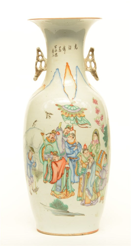 A Chinese polychrome decorated vase depicting genre scenes, H 57 cm (chips