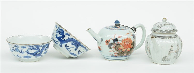 Two Chinese teapots with imari and India ink decoration, 18thC (chips); add