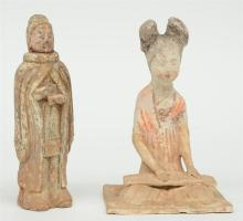 A Chinese earthenware funerary figure of a sitting female musician, Tang-Dy