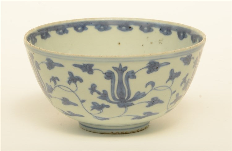 A Chinese blue and white bowl, overall decorated with lotus vines, Ming, H