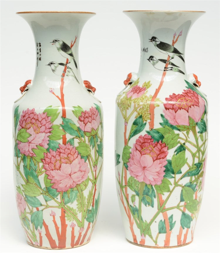 Two Chinese famille rose vases decorated with birds on flower branches, H 5