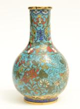 A small Chinese cloisonné bottle vase, 18thC, H 20 cm
