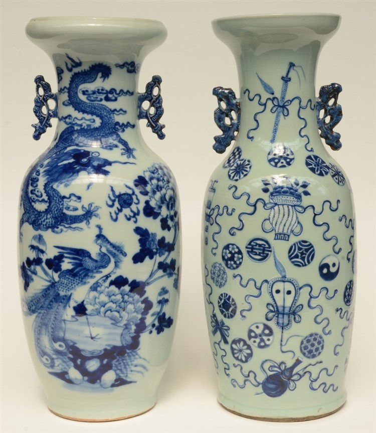 Two Chinese celadon-ground blue and white vases, one painted with a dragon