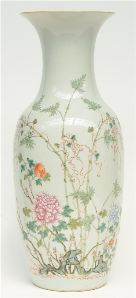 A Chinese famille rose vase decorated with flowerbranches, marked, H 59 cm