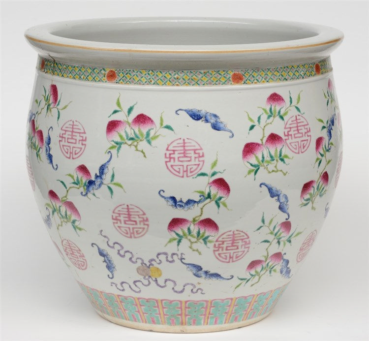 A Chinese famille rose cachepot, decorated with peaches, bats and longelivi