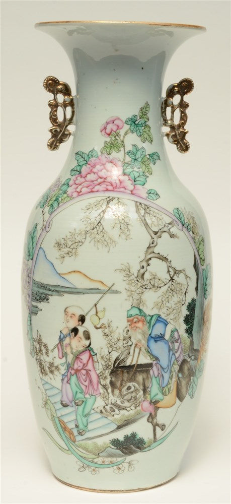 A Chinese polychrome decorated vase depicting a Sage with children, H 57 cm