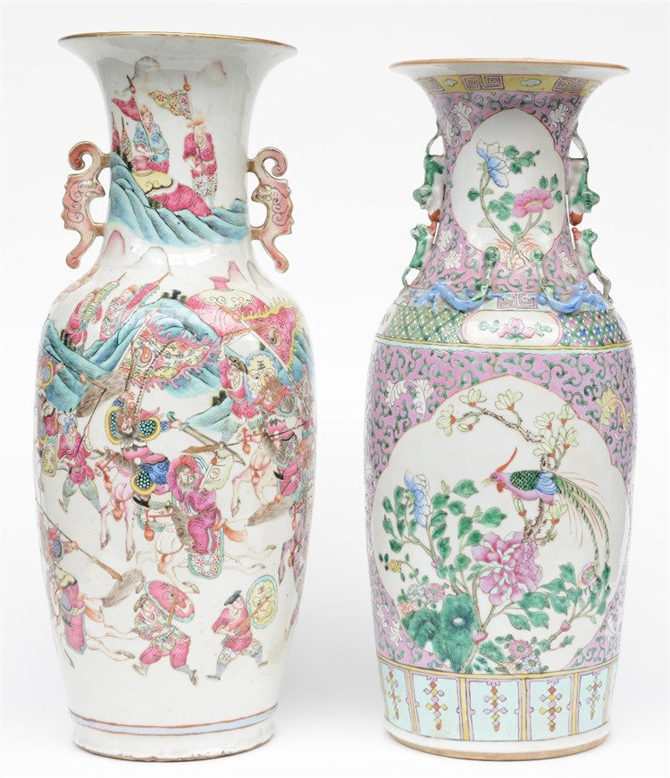 Two Chinese famille rose vases, one vase decorated with a warrior scene, on