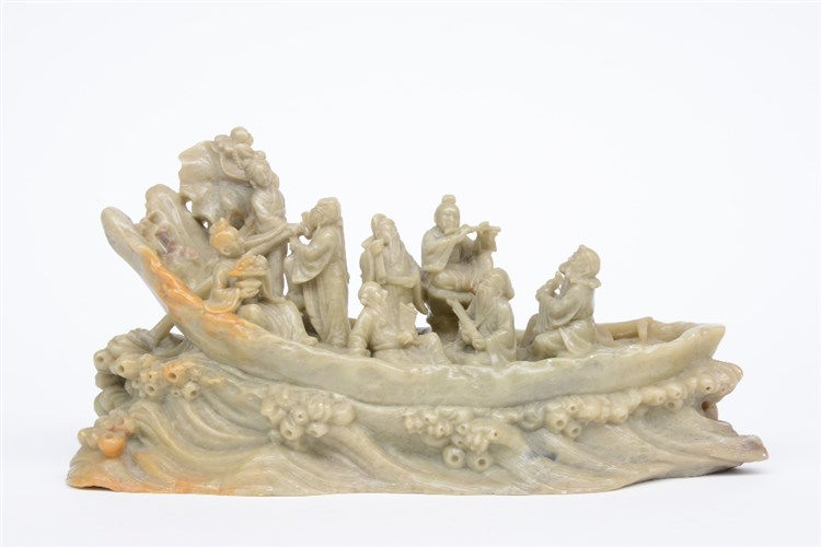 A Chinese steatite sculpture representing the Eight Immortals, H 13 cm - W