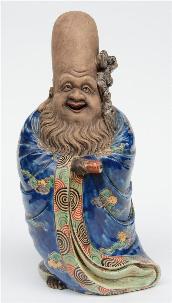 A Japanese polychrome decorated Fukurokuju, H 39 cm