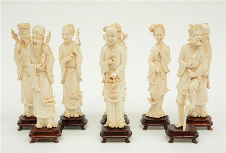 Series of the Chinese Eight Immortals, slightly tinted ivory, China, first