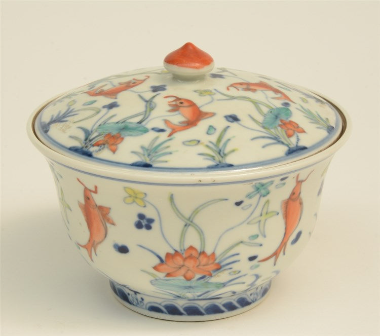 A Chinese doucai bowl with cover, decorated with fishes, with a Jiajing-mar