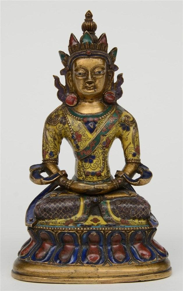 Tibetan cloisonné seated Buddha (Amitayus), 18thC, H 16 cm (restauration an