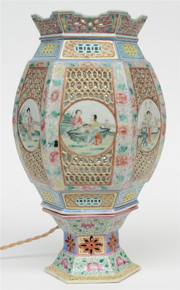 A Chinese hexagonal polychrome wedding lantern with openwork decoration on