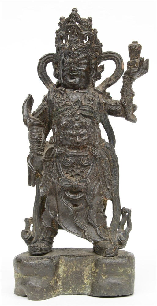A Chinese bronze temple guard on matching base, H 33 cm (left arm restored,