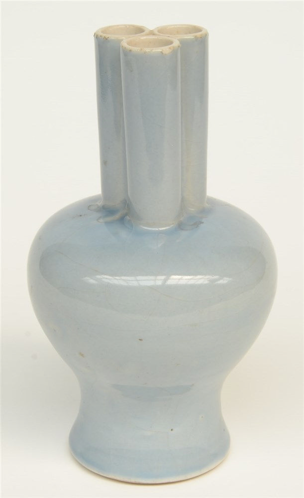 A Chinese three-conjoined vase, light blue glazed, marked, H 22 cm