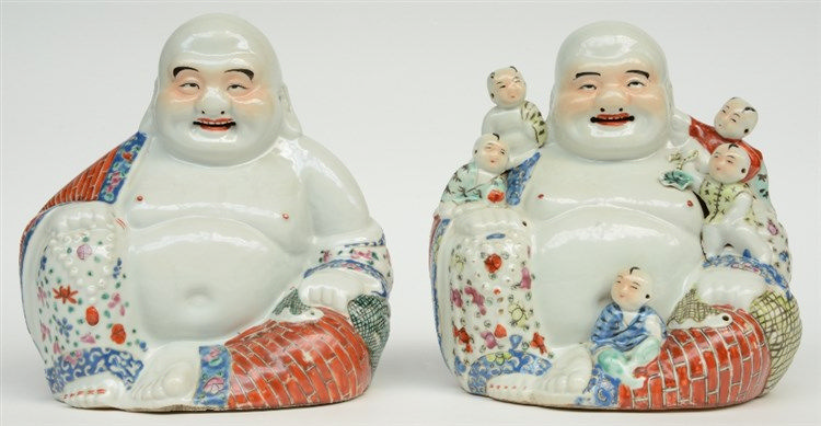 Two Chinese laughing Budai, polychrome decorated, marked, H 25 - 25,5 cm (o