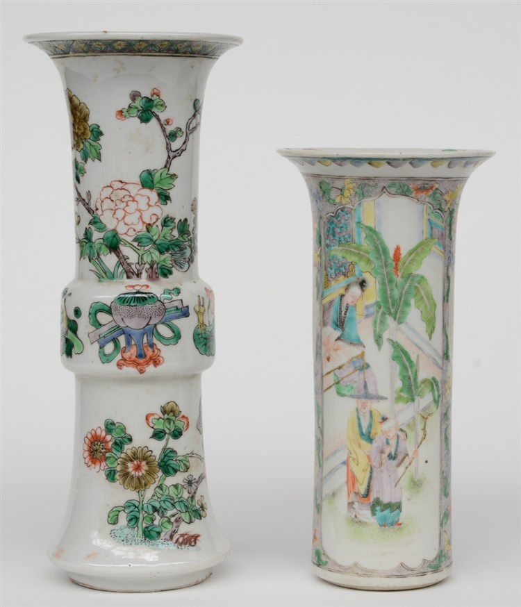 A Chinese famille verte Gu-shaped vase, decorated with flower branches and