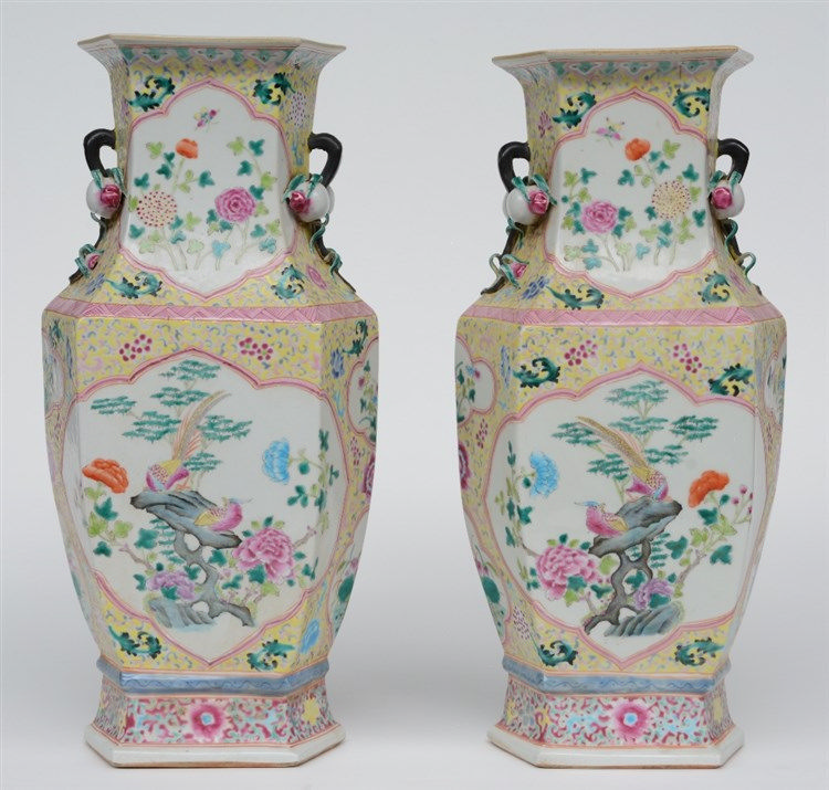 A pair of Chinese hexagonal famille rose vases, with relief decorations, de