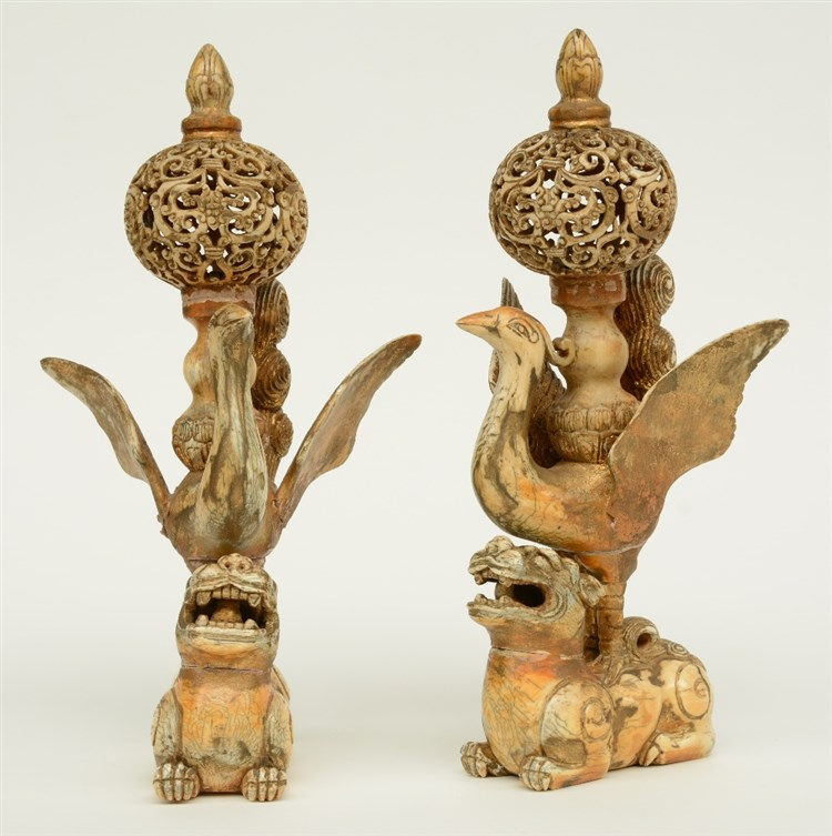 A pair of late 19thC - early 20thC ivory sculptures (out of various parts)